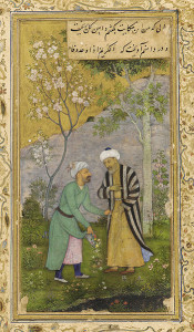 Sa'di in a rose garden, from a Mughal manuscript of the Gulistan, ca. 1645.  Image via Wikimedia Commons.